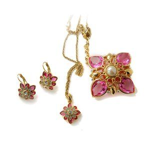 Joan Rivers Brooch Earring Necklace Rhinestone Set